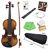 ammoon Acoustic Violin Fiddle 4/4 Full Size Kit Solid Wood Matte Finish Spruce