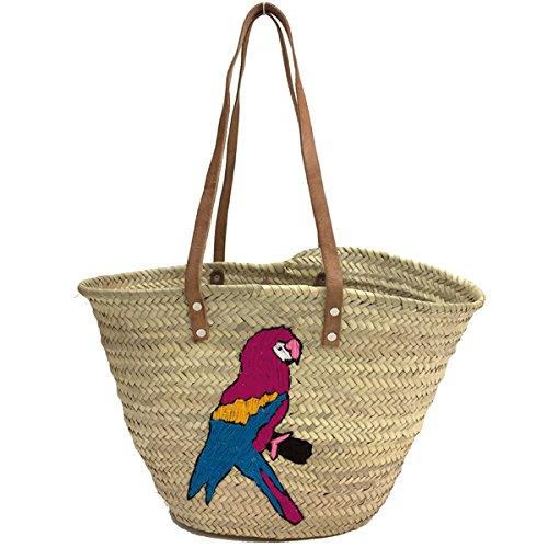 BUCKLE UP - Strandtasche, Korbtasche Tasche - Papagei - Garn- mit Schulterriemen aus Leder