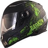 Broken Head Broken Skull - Motorradhelm Mit Sonnenblende - Integral-Helm In Schwarz & Grün -...