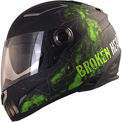 Broken Head Broken Skull - Motorradhelm Mit Sonnenblende - Integral-Helm In Schwarz & Grün - Größe S (55-56 cm)