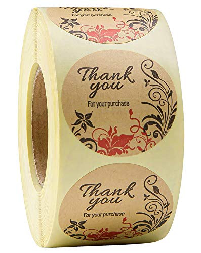 500 Pcs 1.5 inch Thank You Stickers Round Kraft Roll Thank You for Your Purchase Stickers Business Cards Customizable Stickers Personalized Custom Labels