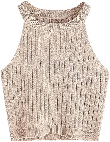SweatyRocks Women's Knit Crop Top Ribbed Sleeveless Halter Neck Vest Tank Top (Medium, Apricot)