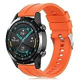 Find-MyWay Conpatible para Huawei Watch GT 2 (46mm)/Watch GT/Watch GT 2e/Watch GT2 Pro Correa para Mujer Hombre,22mm Silicona Deportiva Pulsera de Repuesto Banda Accesorios, Naranja
