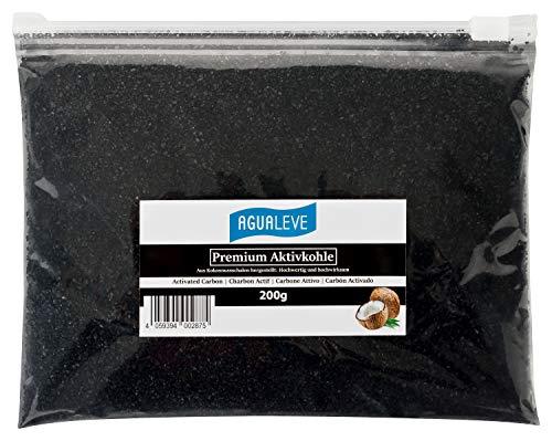 AGUALEVE Premium Aktivkohle 200g aus Kokosnussschalen | Aquarium, Haushalt, Magen-Darm, Filter, Trinkwasser, Bong | Körnung: 0,5-2,5 mm | im Gleitverschlussbeutel