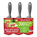 Scotch-Brite Lint Roller, 3 Rollers, 100 Sheets Per Roller (300 Sheets Total)