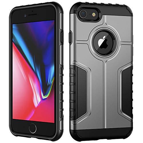 JETech Funda iPhone 8 y iPhone 7, Carcasa Protectora de Doble Capa Absorción de Choque, Plata