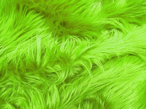 Solid Shaggy Faux/Fake Fur Fabric-Lime Green-Long Pile 60' Sold By The Yard