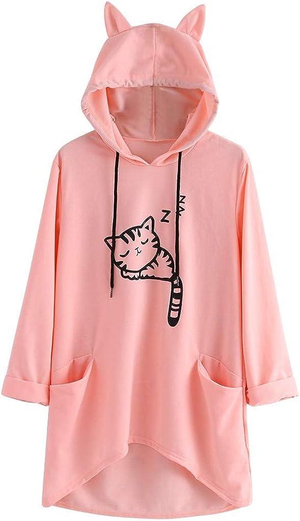 Girls' Hoodie, Misaky Autumn & Winter Casual Cat Print Pocket Long Sleeve Pullover Hoodie Sweatshirt with Ear