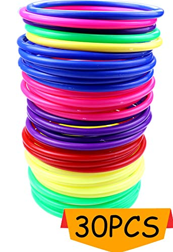 Heatoe 30 Pcs Colored Plastic Toss Rings, Plastic Ring Toss Game for Boys and Girls, Ring Toss Game for Home, Backyard and Garden, Speed and Agility Training Game