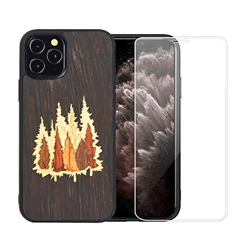Mr.Artisan Compatible iPhone 12 pro max Wooden Natural Unique Real Wood Grain Inlay. Protective Slim Back Cover. Supports Wireless Charging. Included Screen Protector