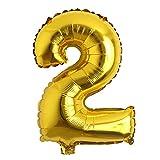 32 inch Letter Balloons Gold Alphabet Number Balloons Foil Mylar Party Wedding Bachelorette Birthday Bridal Shower Graduation Anniversary Celebration Decoration (32 inch 2 Gold)