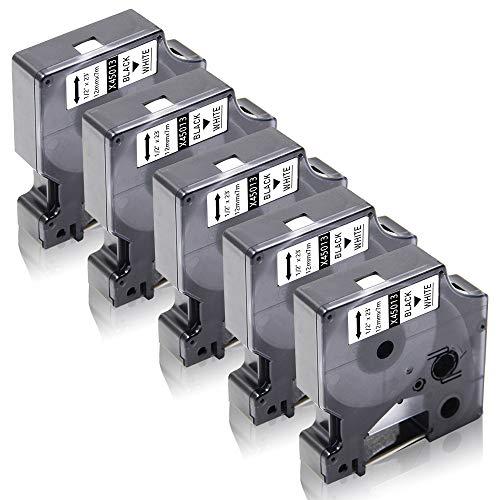 Xemax Compatibile Nastro 12mm x 7m Sostituzione per Dymo 45013 S0720530 Nero su Bianco Cassette per LabelManager 120P 160 210D 280 350 420P 500TS PC II PnP, LabelPoint 150 250 300 400 450 Duo, 5 Pacco