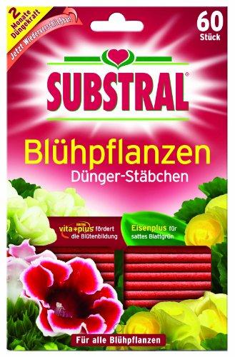 Substral Dünger-Stäbchen für Blühpflanzen mit Eisen-Plus und 2 Monate Langzeitwirkung, 60 Stück