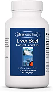 Allergy Research Group - Liver Beef - Natural Glandular - Liver and Nutrition Support - 125 Vegicaps
