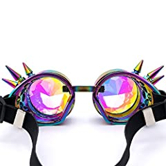 AMhomely Unisex Polarized Steampunk Sunglasses Diffracted Lens Vintage Retro Round Sunglasses Cyber Goggles Kaleidoscope Punk Hippy,Comfort Ideal for Cosplay,Fancy Dress Costumes (Multicolor) #5