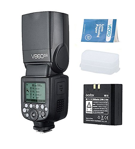 Godox V860II-N Flash Speedlite con Incorporado 2.4G con i-TTL Flash Automático + Li-on Batería + Flash Difusor Softbox para Nikon D800 D700 D7100 D7000 D5200 D5100 D5000