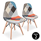 Mc Haus SENA Patchwork - Pack 2 Sillas comedor vintage patchwork tower multicolor naranja diseño tapizado sillas salon...