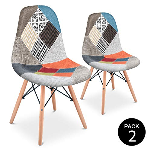 Mc Haus SENA Patchwork - Pack 2 Sillas comedor vintage patchwork tower multicolor naranja diseño tapizado sillas salon estilo retro diseño tower