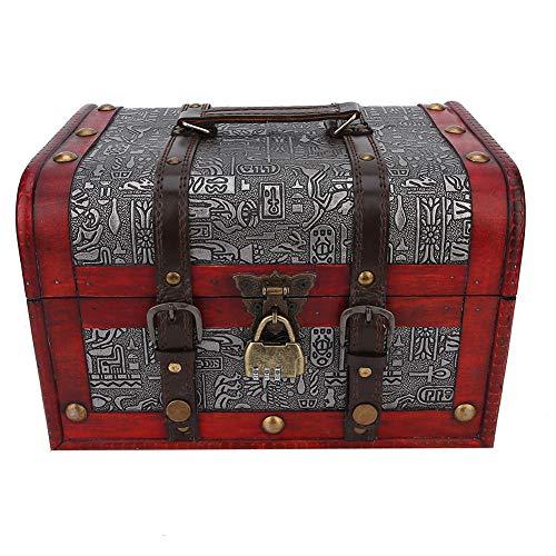 ZJchao Opbergdoos voor sieraden, van hout, vintage, 2 lagen met slot voor armbanden, oorbellen, ringen