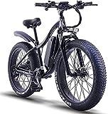 ride66 RX02 Mountain E-Bike - Bicicleta eléctrica (26 pulgadas, 1000 W, 48 V, 16 Ah, batería de celdas LG Fat Tire Hydraulic Brakes Shimano, amortiguador delantero), color negro