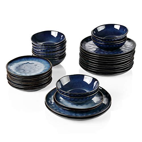 vancasso Serie Starry Vajilla de Gres 36 pcs Juego de Vajilla Completa 12 Plato Llanos, Plato de Postre y Cuencos, para 12 Personas Diseño de Bordes Irregulares Azul