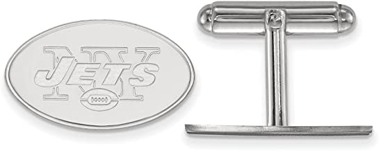 Sterling Silver Rhodium Plated New York Jets Cuff Link, Sterling Silver