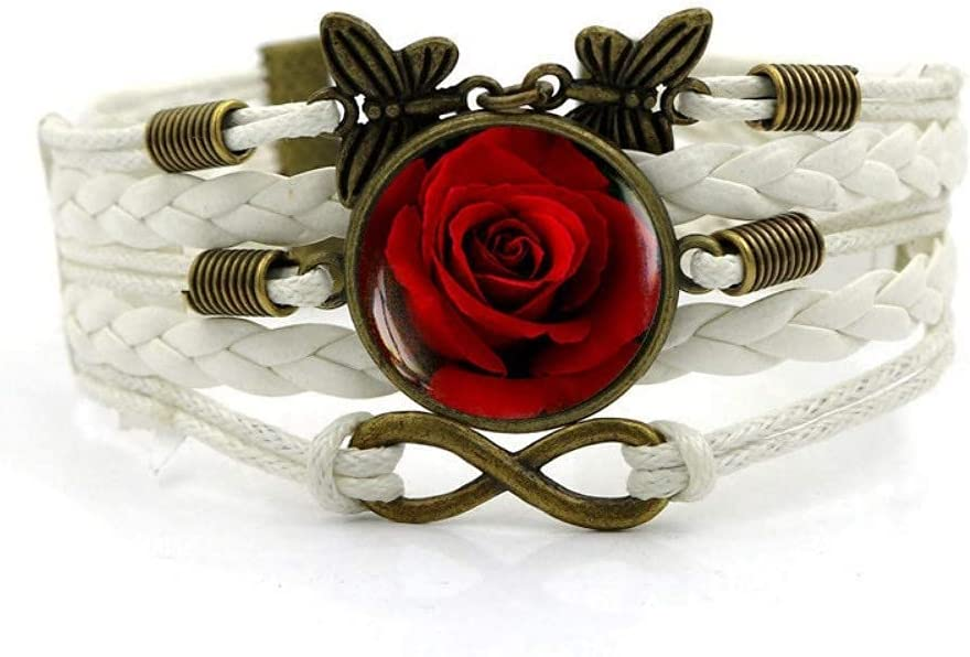 JUNWEN Woven Bracelet White Rope Red Bright Rose Flower Our service shop OFFers the best service Plant Ti