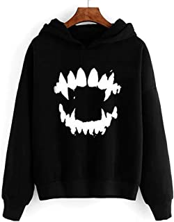 Hooded Sweatshirt Print Womens Halloween Gothic Scary Nice Long Sleeve Hooded Pullover Blouse