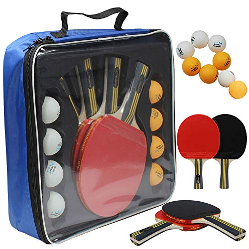 MAPOL Quality Ping Pong Paddle Set - 4 Professional Table Tennis Rackets/Paddles - 8 Premium 3-Star Balls, Portable Cover Case Holder Included