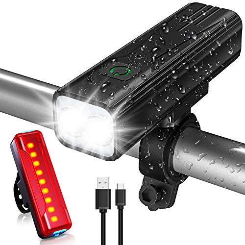 Babacom Luz Bicicleta, Luces Bicicleta USB Recargable con 5 Modos, IPX5 Impermeable...