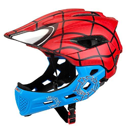 ALBEFY Spiderman Helm, Kinder Fahrradhelm Kinder Vollgesichtsfahrrad Helm für Kinder MTB BMX Dirtbike Skateboard mit abnehmbarem Kinnschutz für Fahrrad Skateboard Scooter