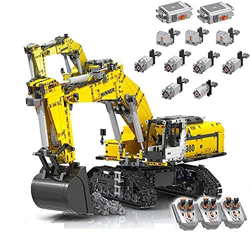 Rcbrick Technik Bagger Technik Ferngesteuert Bagger-Modelle Technik Motorisierter Raupenbagger, 1706 Teile Kompatibel mit Lego Technik