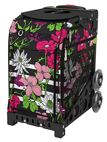 ZUCA bloemblaadjes en strepen sporttas en zwart frame met knipperende wielen