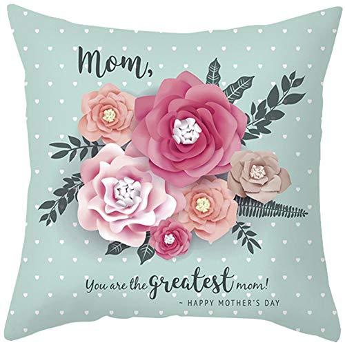 MAIQIAN Funda de Almohada con Estampado de Flores Fundas de Cojines para Regalo del día de la Madre para el hogar Fundas de Almohada Decorativas para sofá