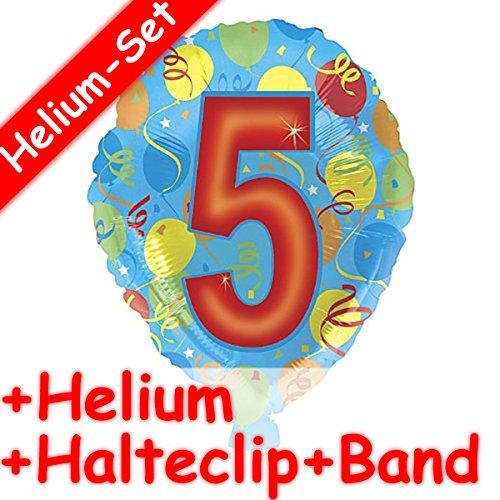 Carpeta folieballonset * cijfer 5 + helium vulling + houder clip + band * voor kinderverjaardag of themafeest // folie ballon helium decoratie ballongas motto vijf vijfde verjaardag