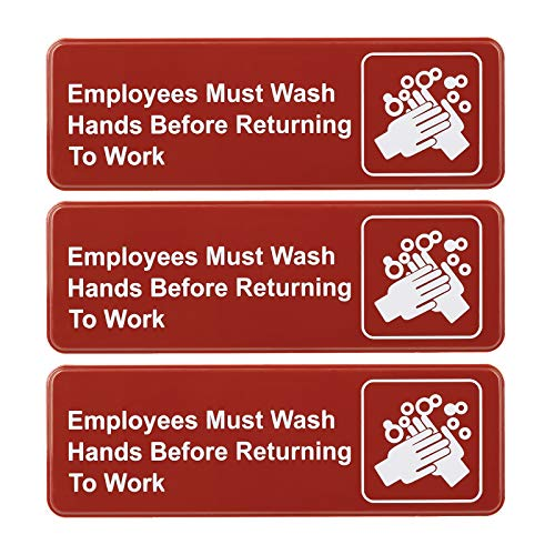 Employees Must Wash Hands Before Returning to Work Sign: Easy to Mount Plastic Safety Informative Sign with Symbols Great for Business, 9x3, Pack of 3 (Red)