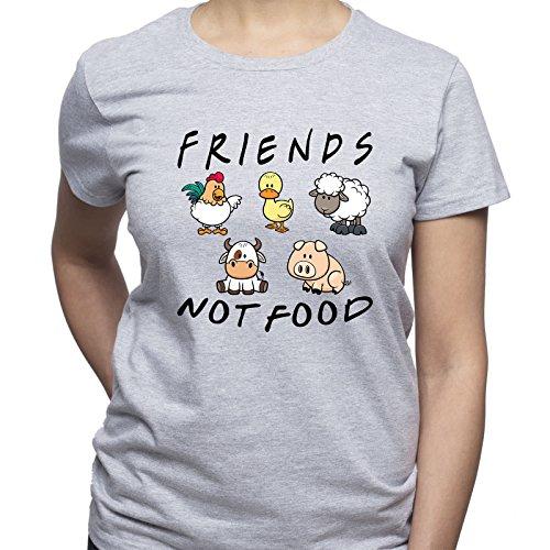 EUGINE DREAM Friends Not Food Vegan Vegetarian Camiseta para Mujer Gris L