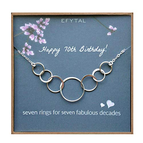 70th Birthday Gifts for Women, Sterling Silver Seven Circle...