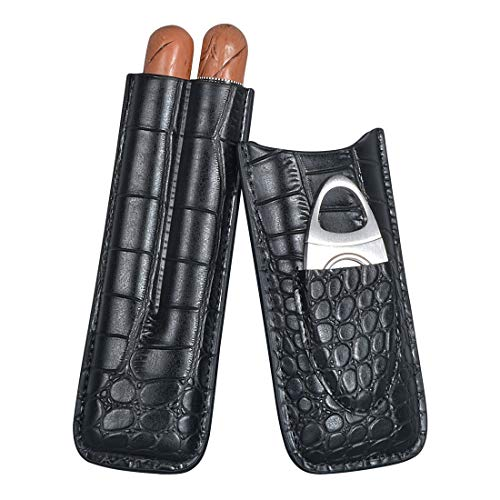 Volenx Zigarren Etui, Zigarren Humidor aus Krokodile Getreide Leder für Reise (Schwarz für 2 Zigarren)
