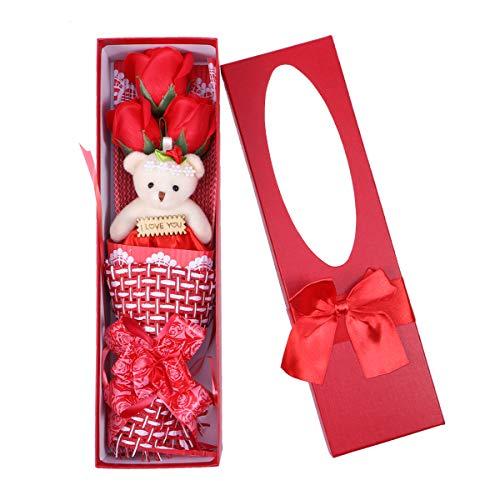 Lurrose Ramo Jabón Rosa Perfumado Romántico con Oso Peluche y Caja en Regalo Creativo para Día de San Valentín (Rojo)