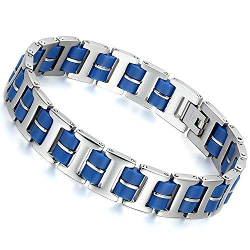Flongo 2016 Bracciale braccialetto uomo acciaio inox, Braccialetto in silicone blu sportivo, Catena...