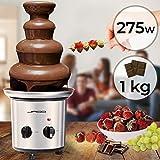 Fuente de Chocolate de 4 Pisos - 275W, Torre de Acero Inoxidable de Altura 39cm, Capacidad 1Kg, Apta para Lavavajillas, Plateado - Fondue Eléctrica con Niveles