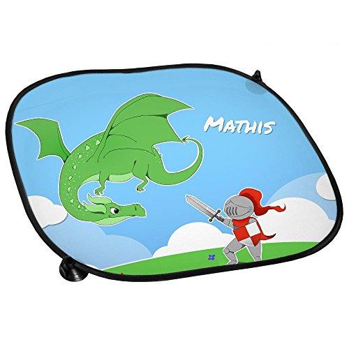 Auto-Sonnenschutz mit Namen Mathis und Motiv mit Ritter und Drache für Jungen | Auto-Blendschutz | Sonnenblende | Sichtschutz
