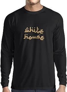 lepni.me N4085L White House Funny Gift Long Sleeve t-Shirt (XL, Black Gold)