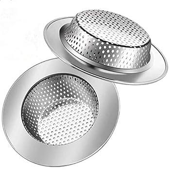 2 Pack Kitchen Sink Drain Strainer Stainless Steel Sink Drain Stopper 4.5  Wide Edges Sink Basket High Density Mesh Perfectfor Bathroom Kitchen Shower Garbage Disposals