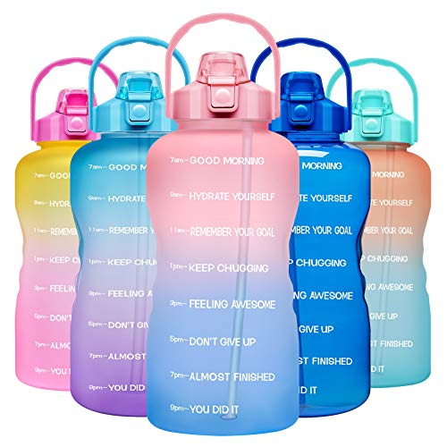Venture Pal 1 Gallon Large Motivational Sports Water Bottle with Time Marker & Straw, Leakproof BPA Free Reusable Fitness Water Jug for Gym,Work and Outdoor Sports-Ombre Pink Blue