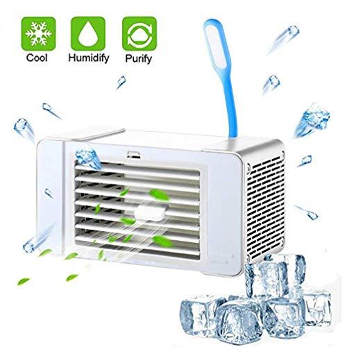 Solucky Airconditioning, kantoorventilator, mini-luchtkoeler-ventilator met tafellamp, usb-aansluiting, ultra-stille ventilator voor studenten