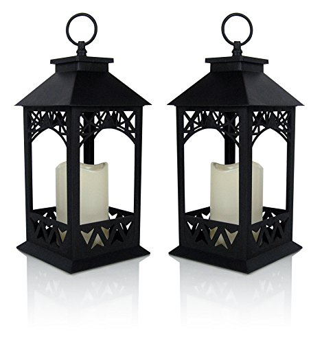 """BANBERRY DESIGNS Decorative Lanterns - Set of 2 Black Lantern with LED Pillar Candle and a 5 Hour Timer - Candle Lanterns Outdoor - 13"""" H"""