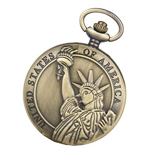 ibasenice de Bolsillo de Cuarzo Vintage Reloj de Bolsillo de Metal Estatua de La Libertad Reloj de Bolsillo Collar Retro Relojes para Hombres Mujeres Regalos