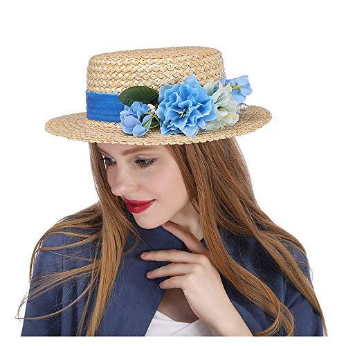 LHZUS Sombreros The Amerie Hat Tocado de paja con parte superior plana...